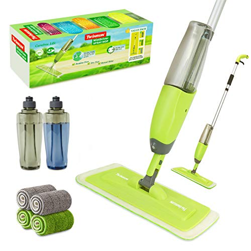TWINRUN Microfiber Spray Mop for Floor Cleaning,Hardwood Floor Mop Kit-2 Refillable Water Bottles,4 Washable Wet Dry Pads