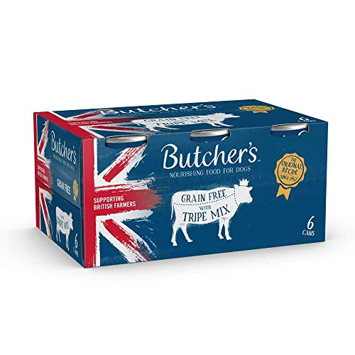 BUTCHER'S Wet Dog Food Tin Cans Grain Free Tripe Mix 24 x 400g