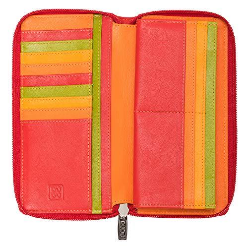 DUDU Portafoglio Donna Grande con Cerniera in Pelle Nappa Zip Around 15 Tasche Porta Carte di credito e Portamonete Rosso