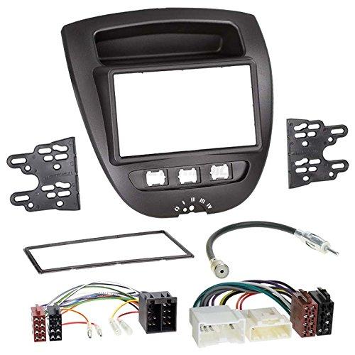 PEUGEOT 10705–142DIN auto Radio Incasso Set in originale Plug & Play qualità con radio antenna Adapter, cavo di collegamento, accessori e mascherina per autoradio/Telaio di montaggio nero