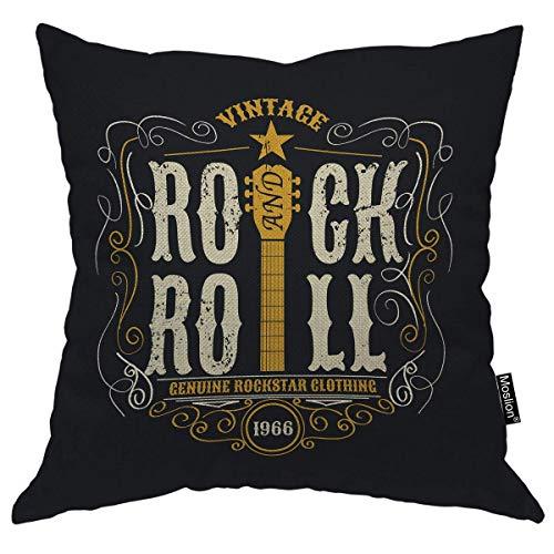 Música Almohadas Arte Retro Palabra Rock and Roll Star Guitarra Throw Almohada Funda de Almohada Decorativa Cojín Cuadrado Acento de Algodón Inicio, 45x45 CM