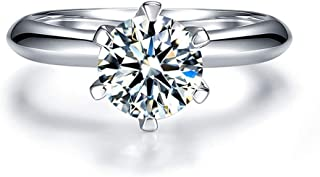 1 ct CZ Solitaire Engagement Sterling Silver Cubic Zirconia White Gold Plated Wedding Anniversary Rings
