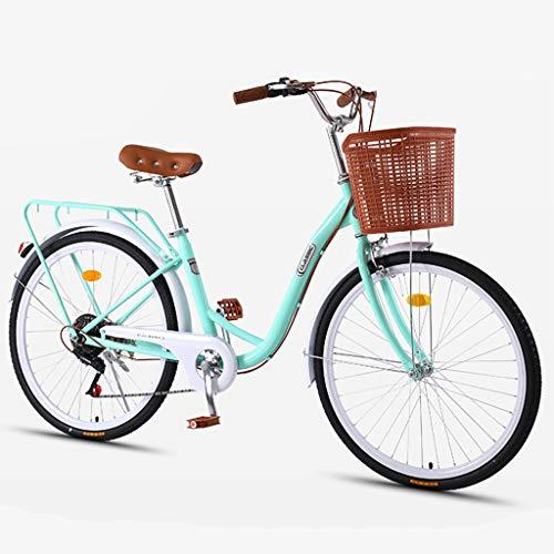 ZXLLO Bicicletta da Donna 24 Pollici con Cestino 7 Marce Bicicletta da Città per Donne Design retrò Bicicletta da Donna 16 kg