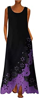 WENOVL Maxi Dresses for Women,Women Sleeveless Print Round Neck Long Maxi Dress Bohemia Beach Shirt Dress