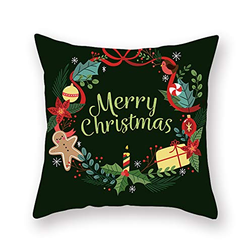 XINRJY European-Style Christmas Printed Pillowcase, Home Decoration, Hotel Bedroom Living Room Sofa, Cushion Cover, Dirt-Resistant And Soft