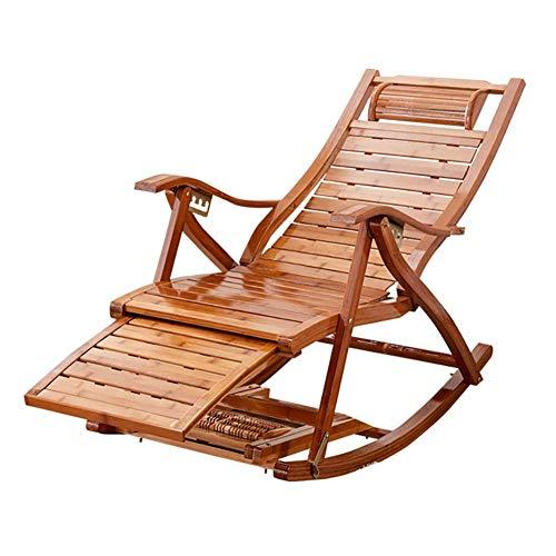 WENYAO Mecedora de Masaje de bambú Sillón Plegable, Ajustable con reposacabezas, Patio/Camping, Soporte de 330 LB