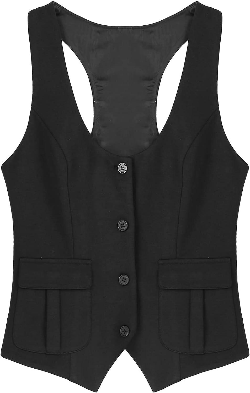 Sholeno Women Vintage U Neck Button Down Vest Racerback Waistcoat Slim Fit Dressy Suit
