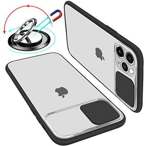 UNIOTEK Hülle kameraschutz kompatibel Mit iPhone 11 Weich Kanten Stoßfeste Anti-Scratch Hülle Matte Transparent Kamera Schutz Handyhülle Slide Kameraschutz Mit 360 Grad Ring Ständer (Schwarz)