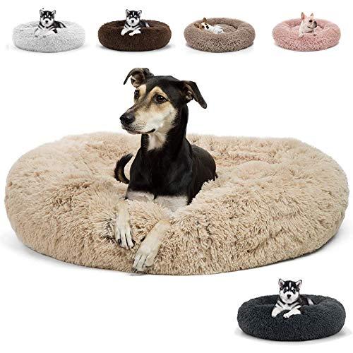 JRUI Deluxe-Haustierbett, waschbar Hundebett, Rundes Plüsch Hundekissen, Katzenbett Katzenkissen Donut Hundekörbchen für Kleine/Mittelgroße/Große Hunde und Katzen 50-120cm (Blitzversand)