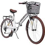 Centurfit Bicicleta Estilo Vintage Retro Clasica Urbana 6 Velocidades Rodada 26 con Canastilla...