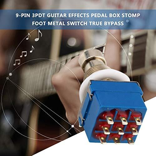 9 Pines 3PDT Efectos de Guitarra Pedal Box Stomp Foot Interruptor de Metal True Bypass Práctico Interruptor de Metal Accesorios de Guitarra Azul y Plata - Negro