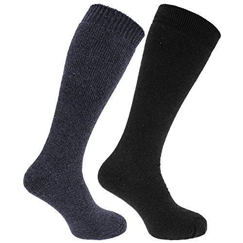Chaussettes hautes thermiques (2 paires) - Homme (39-45 EU) (Bleu marine/Noir)