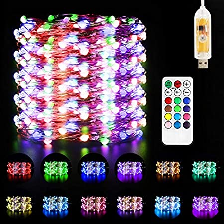 Milticolore Guirlande Lumineuse LED IP67, Maxuni USB 10M 100 LEDs fairy lights 48 modèles dynamiques avec Télécommand pour Chambre Décoration de Saint Valentin, Guirlande Led Intérieure/Extérieure