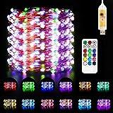 Guirnalda Luces USB Multicolor, Maxuni 33 Pies, 48 Luces de Hadas Led,Con Control Remoto y Temporizador, para Dormitorio, Navidad, Decoración Interior y Exterior
