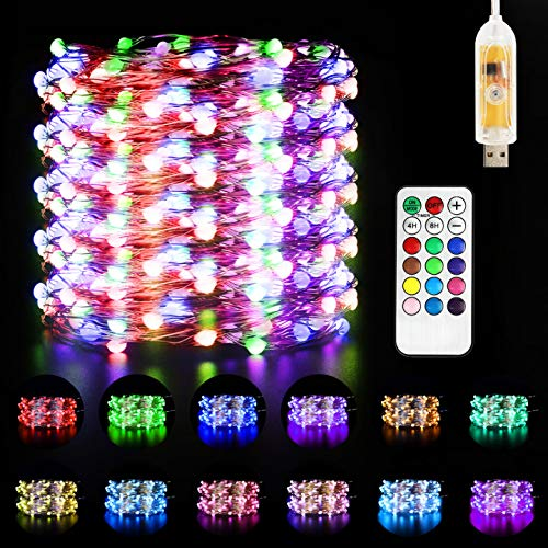 Led Fairy Lights, Maxuni USB Powered 33ft/10M 100LED String Light with Remote and Timer, 48 Colour Changing Modes Rope Lights for Christmas and New Year Patio Garden Bedroom Decoration
