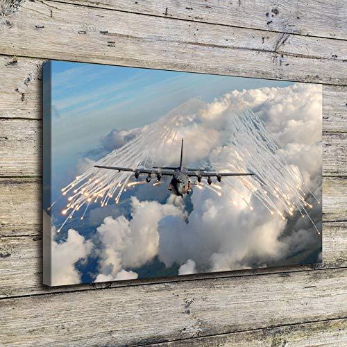 XCMHXY canvas print woonkamer canvas schilderij lijst 1 stuk blauwe hemel witte wolken vliegtuigen afbeeldingen muur kunstdruk vliegtuig poster Home De