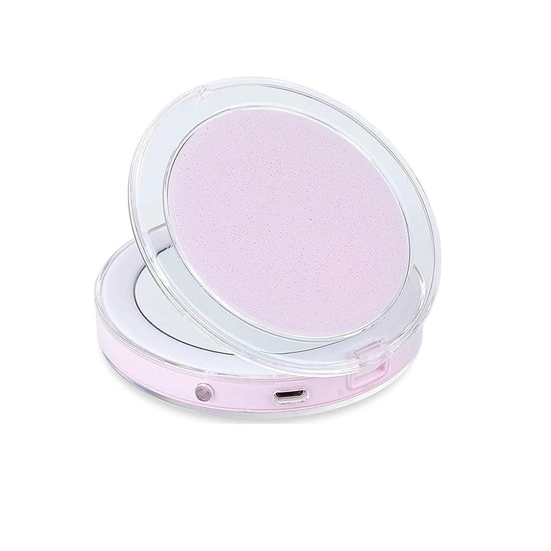 医療過誤クックアルカイック化粧用コンパクトミラー、LEDライト付きトラベル化粧鏡1倍/ 3倍拡大スマートセンサーナイトライト(ライトミラー付き),ピンク