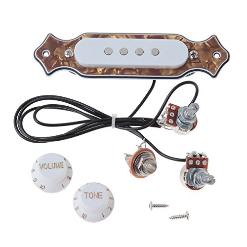 Bronze Pearl Guitar Soundhole Pickup Prewired Wiring Harness For 4&6 String Cigar Box Guitar