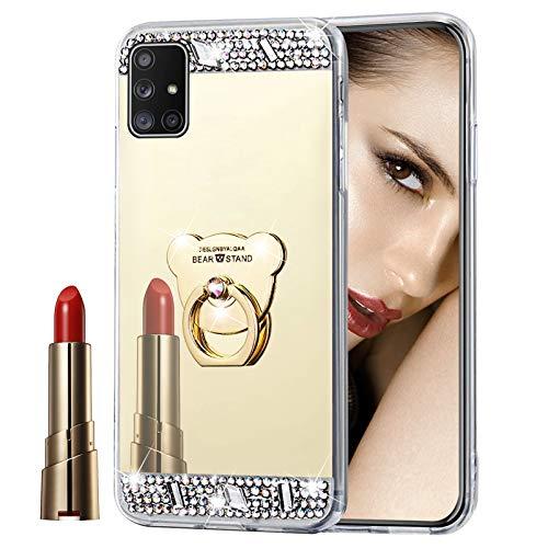 Glitzer Spiegel Hülle für Galaxy A51 Gold, Misstars Bling Diamant Strass Überzug TPU Silikon Handyhülle Ultradünn Kratzfest Schutzhülle mit Bär Ring Ständer für Samsung Galaxy A51