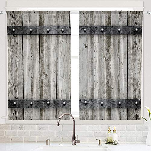 Riyidecor Wooden Barn Doors Kitchen Curtains Woods Rustic Rod Pocket Retro Metal Texture Western Country Farmhouse Printed Living Room Bedroom Window Drapes Treatment Fabric 2 Panels 55 x 39 Inch