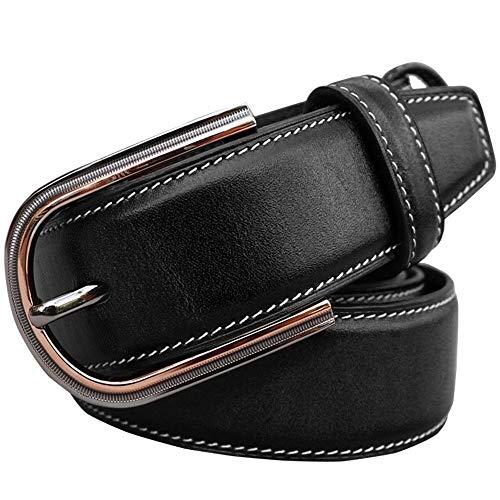 Riem voor heren Men's Belt Classic casual broek pak broek riem Single Claw gesp for 95-110cm Zakelijke kansen, woon-werkverkeer (Color : Black, Size : 100 cm)
