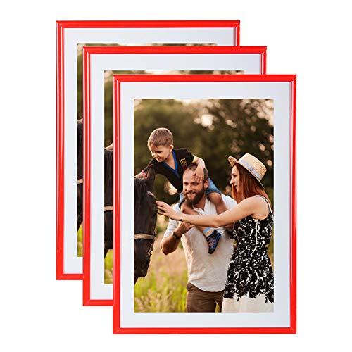 Conjunto de 3 marcos de la foto A4 (rojo) - marco de fotos resina con panel de vidrio de protección - Se suministra con el puente del pie y ganchos para montaje en pared. Ideal para fotos, diplomas, publicidad ....