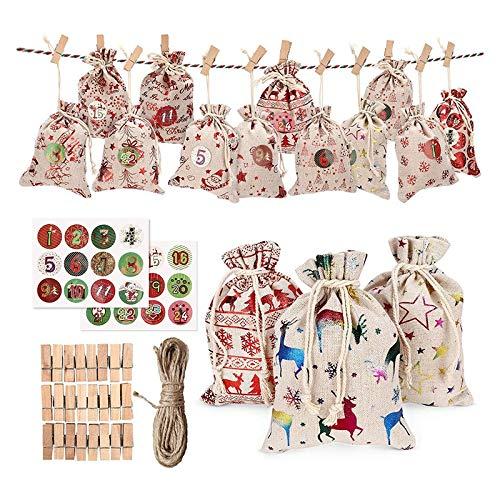 Sonline 24Pcs Bags Calendar Countdown Jute Bag Candy Storage Pouch DIY Christmas Advent Calendar Bag