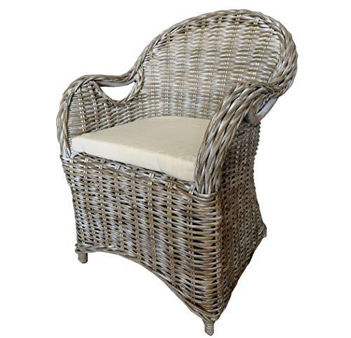 KMH®, Schöner Korbstuhl/Korbsessel Athen (grau) mit robustem Bambusgestell - inklusive Sitzkissen! (#400184)