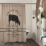 VHC Brands Farmhouse Bath Sawyer Mill Cow Rod Pocket Cotton Button Holes for Shower Hooks Stenciled Chambray Nature Print Duschvorhang, Baumwolle, Khaki Tan