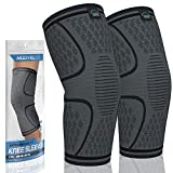 Modvel 2 Pack Knee Compression Sleeve | Knee Brace for Men & Women | Knee Support for Running, Basketball, Weightlifting, Gym, Workout, Sports - Please Check Sizing Chart (X-Large, Black)