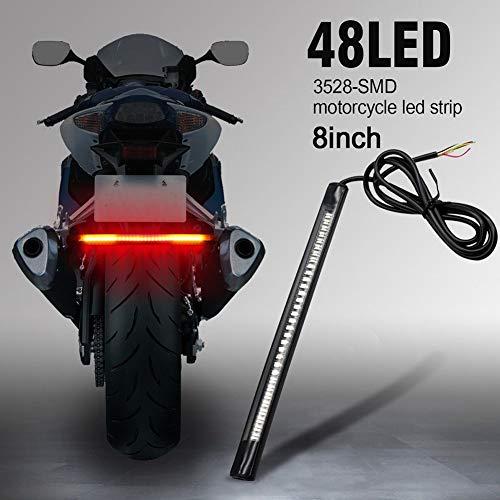 TABEN LED Bande Moto Plaque D'immatriculation Queue De Frein Arrêt Clignotants Bande de Lumière Rouge + Jaune 3528 + 3014 48SMD 8\