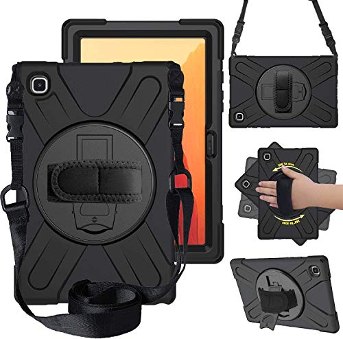 Case for Samsung Galaxy Tab A7 10.4 Inch 2020, Hybrid Shockproof Rugged Drop Protection Cover with Kickstand Handle Hand Strap Shoulder Strap for Samsung Galaxy Tab A7 10.4 Inch Model SM-T500/505/507
