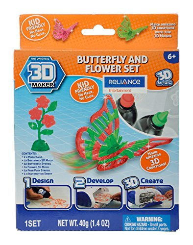 3D Magic 82001 3D Maker Butterfly and Flower Expansion Pack, Multi Colour