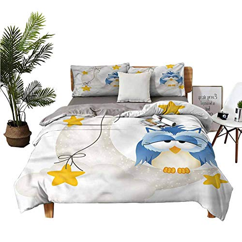 DRAGON VINES 4 bedding cover set Dozing Off Owl Crescent Moon King Size Sheets Winter bedding W104 xL90