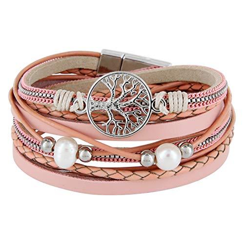 StarAppeal Armband Wickelarmband mit Perlen, Ketten, Flechtelement und Lebensbaum Anhänger,...