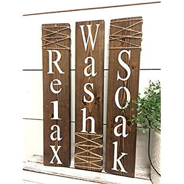 Rustic Bathroom Signs - Farmhouse Bathroom Decor - Soak Wash Relax