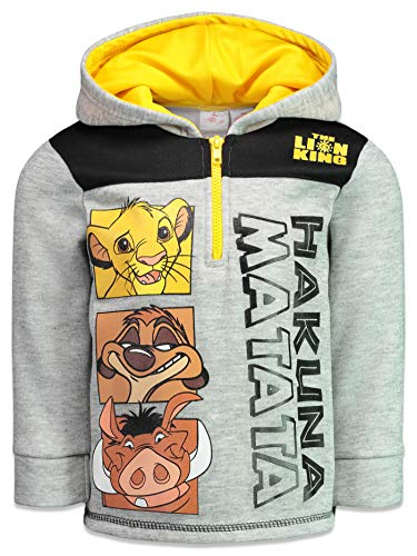Disney Lion King Toddler Boys Fleece Half-Zip Pullover Hoodie, Heather Grey 5T