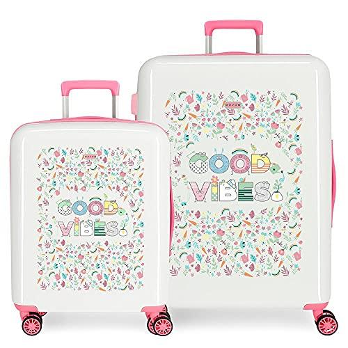 MOVOM Good Vibes - Set di valigie, colore: bianco, 55/70 cm, rigido, ABS, chiusura TSA integrata, 119,5 kg, 6 kg, 4 ruote doppie