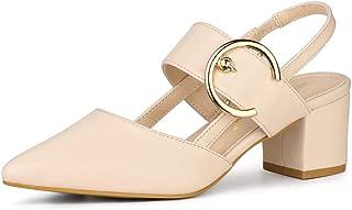 Allegra K Women's Buckle Pointed Toe Chunky Heels Mules Pumps