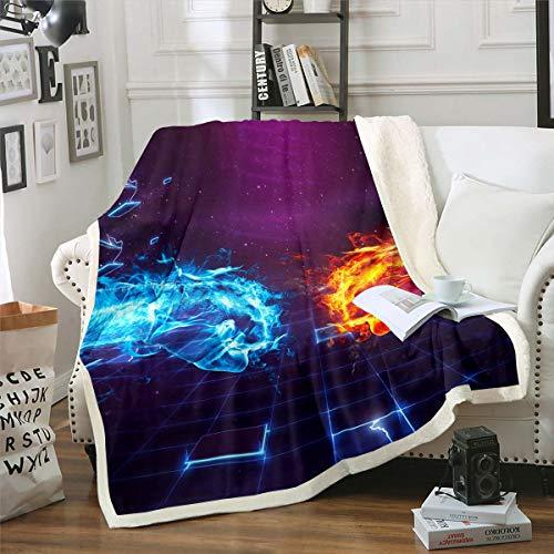 Yin Yang - Manta de sherpa estilo bohemio, tríptico, diseño psicodélico, manta de forro polar para niños y niñas, con diseño de puño de mano, manta de felpa para sofá cama, doble 156 x 188 cm