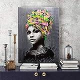 ganlanshu Chica Africana Abstracta Imprimir en Lienzo Decoración de Pared para Sala de Estar Lienzo Pintura Arte de la Pared Imagen Inicio Carteles Obra de artePintura sin marco-60x90cm