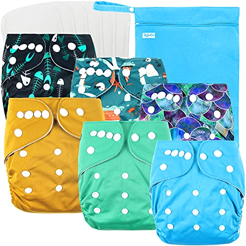 Leekalos Cloth Diapers Reusable for Boys and Girls, Baby Diaper Cloth with Bamboo Inserts & Wet Bag (Bright Fish)