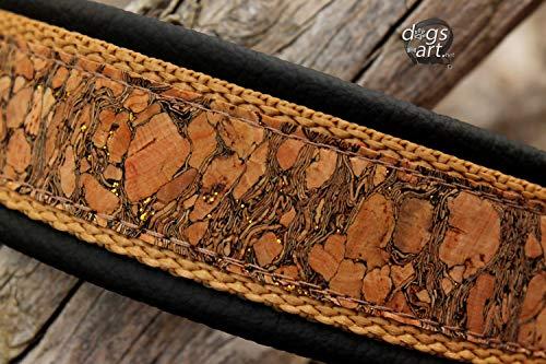 Hundehalsband Kork Leder Schwarz Braun Gold Glitzer Halsband Klickverschluss Alu Rose-Gold