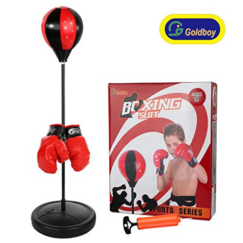Goldboy Punching Bag with Stand for Kids, Training Boxing Bag Set Adjustable Height 42 Inches, Boxing Toys for Boys and Girls Ages 3-8 Years Old