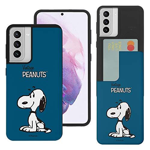 """Galaxy S21 ケース と互換性があります Peanuts Snoopy ピーナッツ スヌーピー カード スロット ダブル バンパー スマホ ケース 【 ギャラクシー S21 ケース (6.2"""") 】 (シンプル スヌーピー) [並行輸入品"""