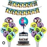 Feliz cumpleaños decoraciones para fanáticos del juego, Juego de suministros para fiestas Fortnite Gaming, 19 globos de fiesta de látex / 1 pancarta de cumpleaños