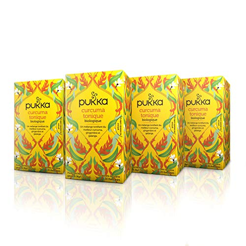 Pukka Infusion Biologique Ayurvédique Curcuma Tonique, Issue du Commerce Equitable 80 Sachets (Lot de 4x20 Sachets)
