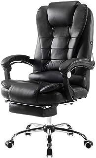 MYXMY La silla principal for el hogar puede elevarse y bajarse girando el descanso de la oficina silla de descanso de cuero ambiente cómoda silla de oficina negra personal de estudio silla multifuncio