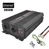 ERAYAK Inversor de Corriente 2000W (Pico 4000W), Convertidor, Transformador, 12v 220v Inverter, Con Puerto USB Con 2 AC Tomas y Encendedor Convertidor para Automóviles