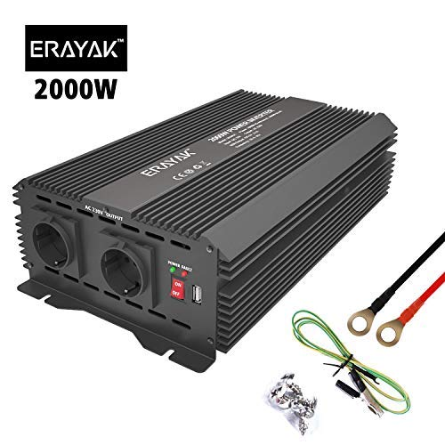 ERAYAK Wechselrichter 2000W (Spitzenleistung 4000W), Spannungswandler, Transformator, Stromwandler für 12V auf 230V Inverter, mit 2 AC-Steckdosen und 5V 2.1A USB.